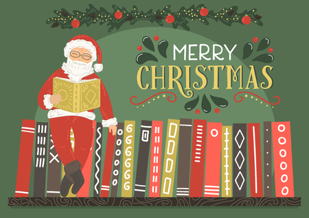 Merry Christmas greeting card. Santa Claus reading book with lettering.Vector illustration.