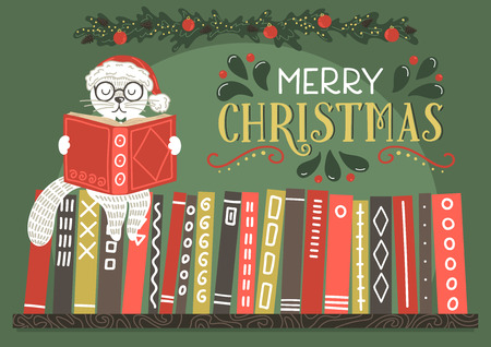 Merry Christmas greeting card. Fantasy cat in Christmas hat reading book with lettering.Vector illustration.