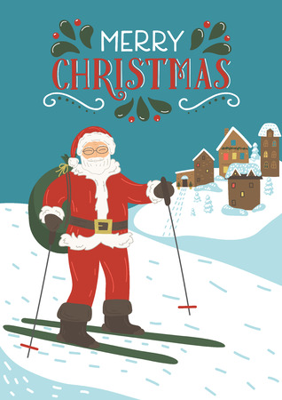 Santa Clause skiing in the mountains with lettering Merry Christmas. Winter holidays greeting card. Vector illustration.