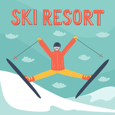 Skier jumping in the mountains with hand written lettering
