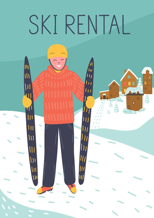 Man with skis and text Ski Rental. Winter vector illustration.