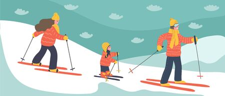 Family ski holidays. Mother, father and daughter skiing in the mountains. Winter vector illustration.