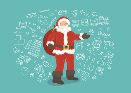 Santa Claus with dooles of toys on background. Christmas vector illustration. Illustration