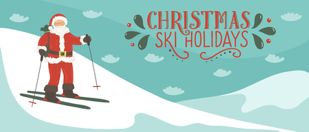 Santa Clause skiing in the mountains with lettering Christmas ski holidays. Winter vector illustration.