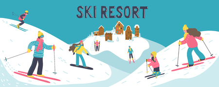 Ski resort. Hand drawn skiers skiing in the mountains with hand writting lettering. Winter vacations vector illustration.