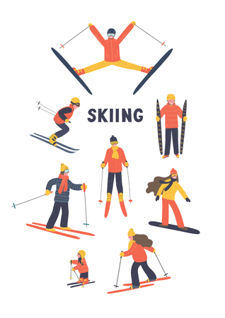 Set of skiing people. Hand drawn skiers on white background. Winter vector illustration. Ilustracja