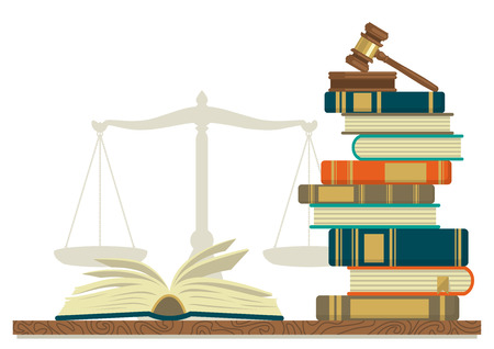 Law studies. Stack of books with glasses, open book and judge gavel on white background. Vector illustration. Çizim