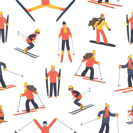Pattern from skiing people. Hand drawn skiers on white background. Winter vector illustration. Vector Illustration