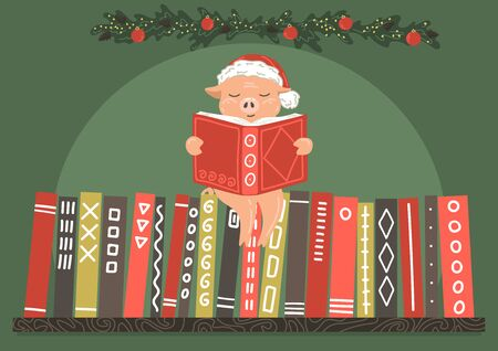 Pig in red hat reading book on bookshelf with New Year decor. Ilustração