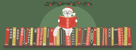 Cat in Christmas hat reading book. Bookshelf with white cat reading book. Christmas vector illustration. Vectores