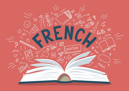Français. Livre ouvert avec des griffonnages et des lettres dessinés à la main. Illustration vectorielle de l'enseignement des langues.
