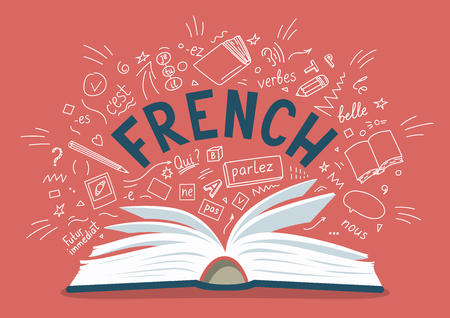 French. Open book with language hand drawn doodles and lettering. Language education vector illustration.