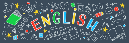 English. Language hand drawn doodles and lettering. Education banner. Vector illustration. Stock Illustratie