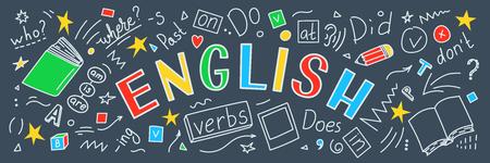Język angielski. Język ręcznie rysowane gryzmoły i napis. Baner edukacji. Ilustracja wektorowa.