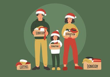 Christmas clothes donation. Cute hand drawn family Foto de archivo - 136857323
