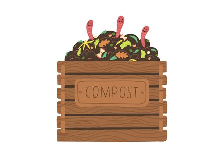 Compost box with with funny worms. Recycling concept.