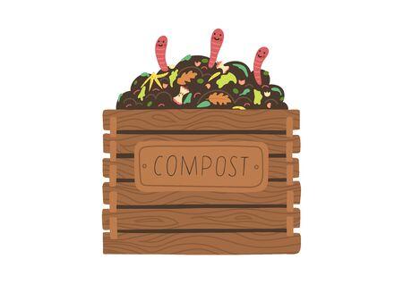 Kompostbox mit lustigen Würmern. Recycling-Konzept.