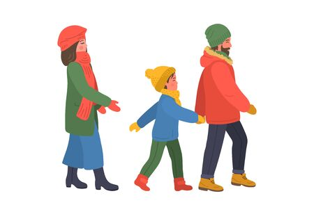 Family walks in warm winter clothes. Mother, father and baby on white background.