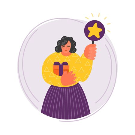 Feedback. Woman with gift holding scorecard with star. Cute smiling curvy lady evaluates quality of something. Vectores
