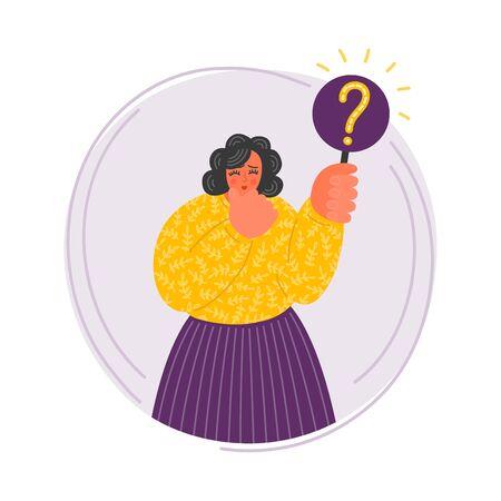 Woman holding question mark. Hard thinking cute curvy lady. Making choice.