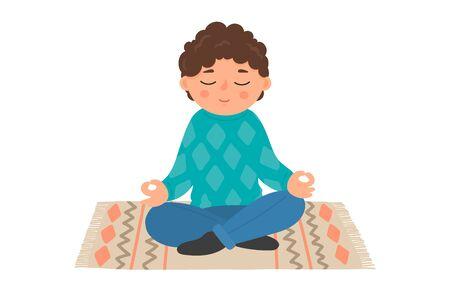 Child meditation. Little boy sitting in lotus pose.