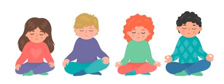 Children meditation set. Group of little girls and boys sitting in lotuse pose and maditating. Cute yoga, minfulness, relax vector illustration isolated on white background. Stock Illustratie