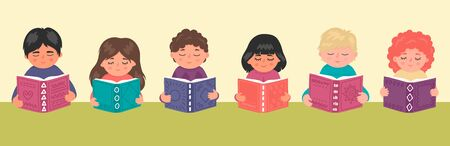 Cute children reading book. Education, library, studying, school vector illustration horizontal banner.