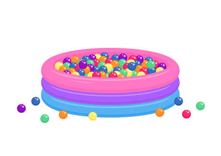 Kiddie inflatable pool full of plastic balls isolated on white background.