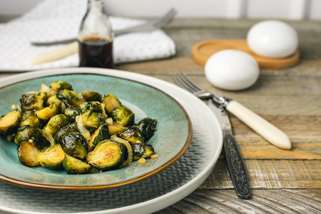 Roasted Brussels Sprouts with Onion and garlic.