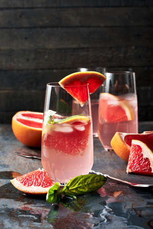 Refreshing citrus lemonade with grapefruit and basil.