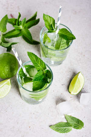 Refreshing drink glass with lime, mint and ice, mojito cocktail.