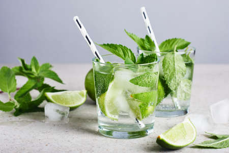 Refreshing drink with lime, mint and ice, mojito cocktail.