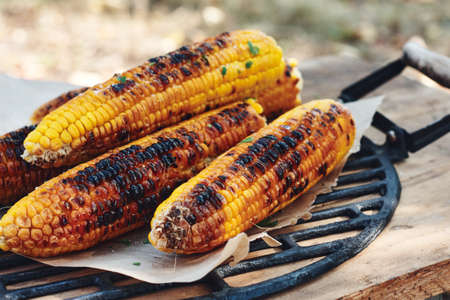 Grilled corn on the cob with greens.
