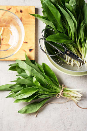 Fresh leaves of wild garlic on the kitchen table. Фото со стока