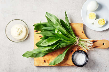 Bunch of fresh ramson (wild garlic), mayonnaise sauce, eggs. Ingredients for a salad or appetizer. Фото со стока