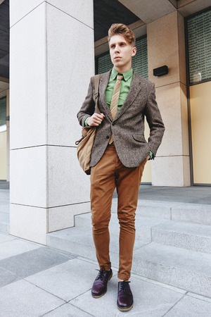 Yong boy man business casual street style fashion Stock Photo