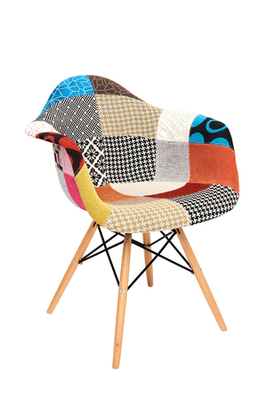 modern patchwork armchair isolated on white background back view Stock Photo