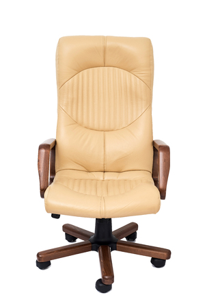 beige: modern office beige leather armchair isolated on white background