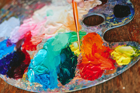 Colorful palette oil painting