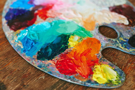 pied: Colorful palette oil painting