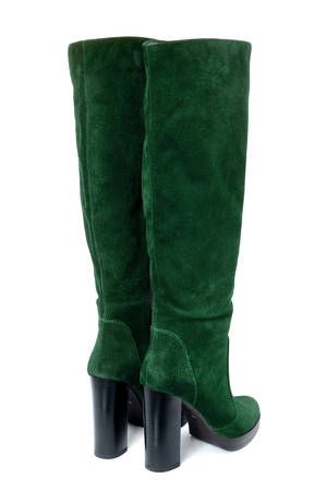 High heel winter woman boots from suede leather isolated on white background
