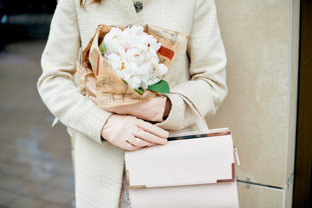 girls with flowers peonies coffee street style fashion lifestyle stylish beautiful lady woman casual fancy