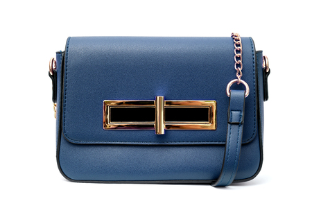 Dark red small handbag purse isolated on white background Stock Photo