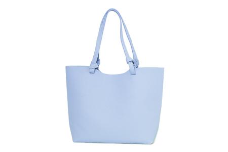 Large blue handbag isolated on white background