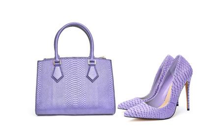 Fashion purse handbag and high heel shoes on white background isolated Stock Photo