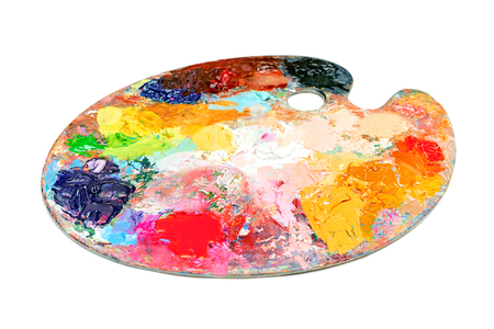 Colorful palette oil painting isolated on  white background Stock Photo