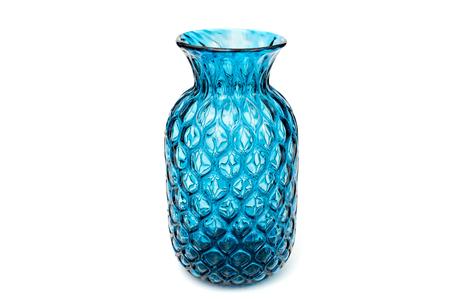 Blue glass vase close up isolated on white background Stock Photo