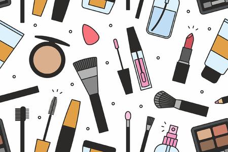 Outils de maquillage seamless pattern Vecteurs