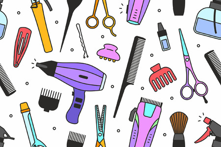 cutting: Barber shop tools pattern Illustration