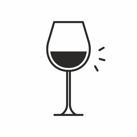 A black silhouette illustration of alcohol in a wine glass, Cocktail icon  isolated on white.